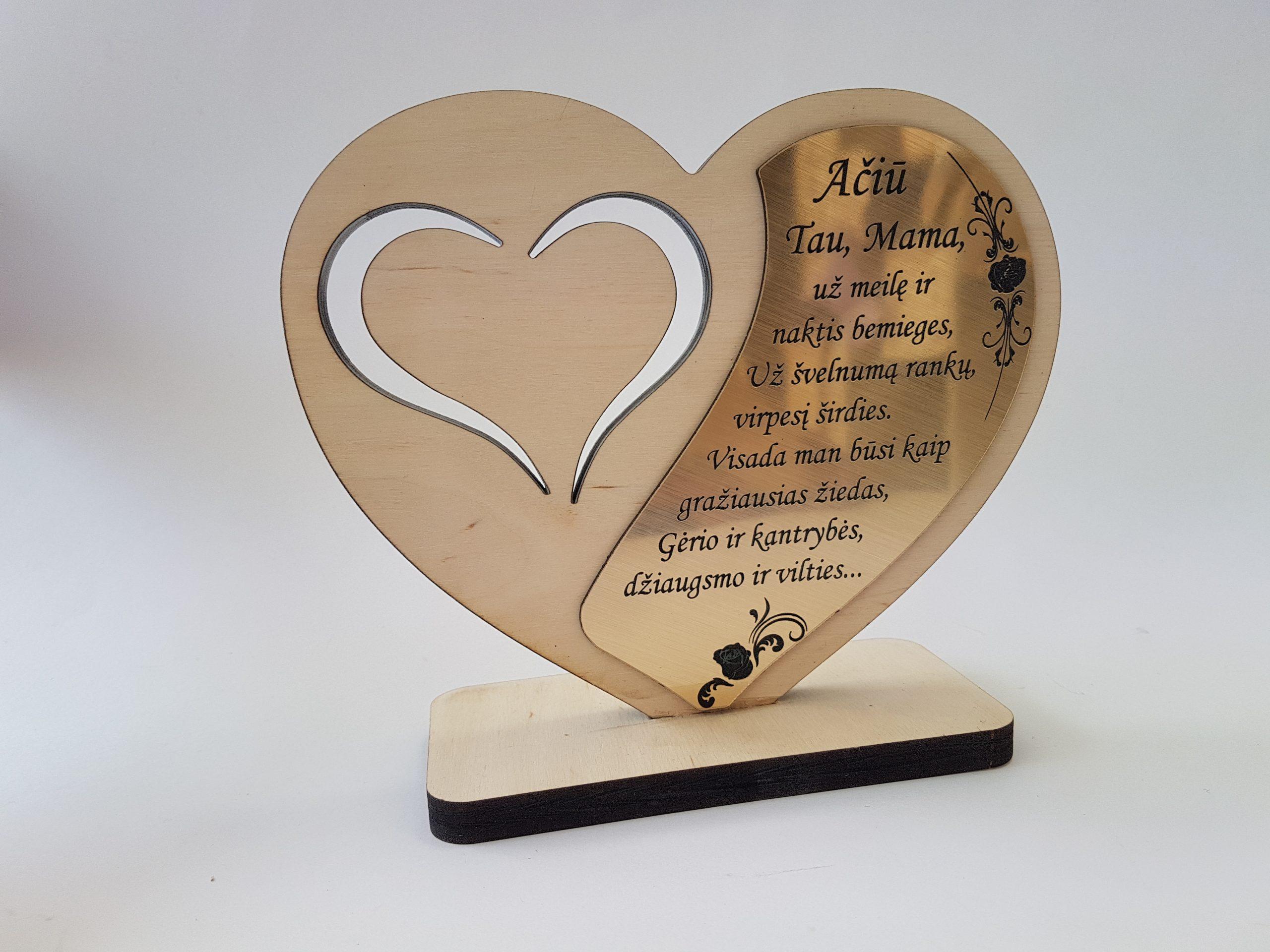 Medinė širdis Mamai